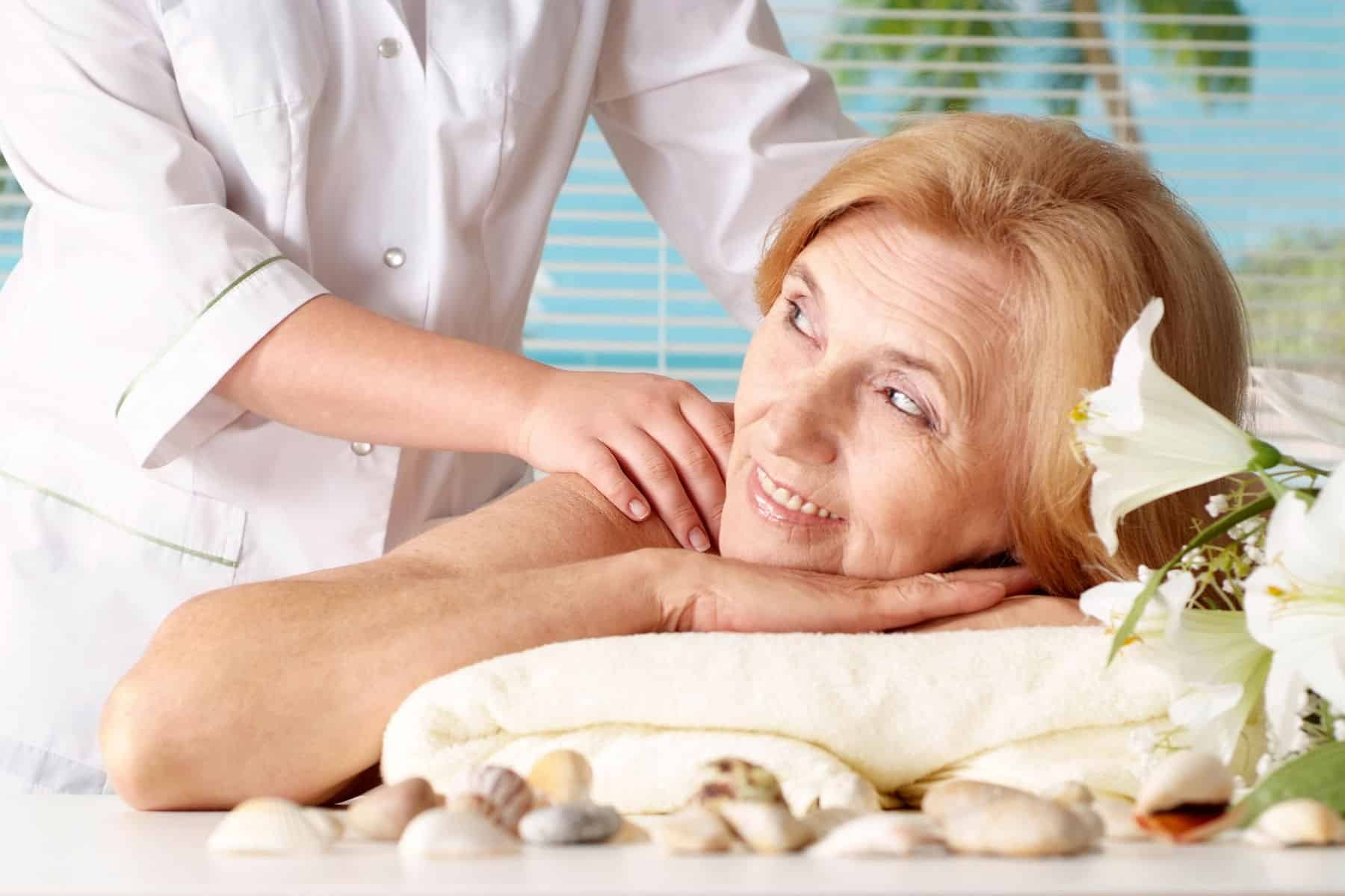 Senior woman enjoying a massage